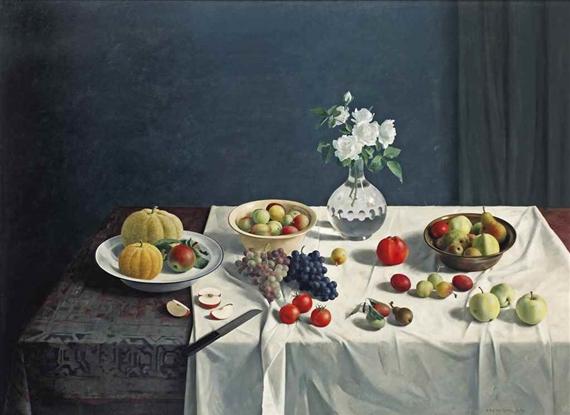 Een stilleven met fruit en bloemen, olieverf op paneel,122 x 167 cm, 1969